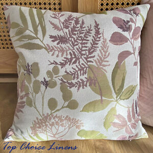 45x 45cm Home Decor Pink/Mauve/Olive Textured Fern Floral Jacquard Cushion Cover
