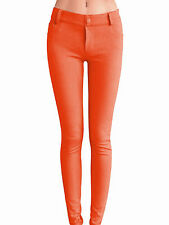 Women Skinny Colorful Jeggings Stretchy Sexy Pants Soft Leggings Pumpkin XL