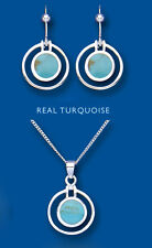 Solid Silver Pendant and Earrings Set Natural Turquoise