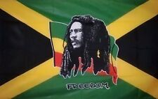 BOB MARLEY FLAG 5' x 3' Jamaica Jamaican Music Festival Freedom Flags
