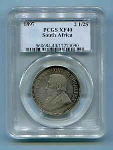 PCGS Certified XF40 1897 2 1/2 Shillings Kruger era coin South Africa ZAR
