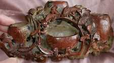 Sculpture Stéatite - 4 Godets de peintre + Porte plume - Asie vers 1900