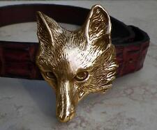 Cavalli Del Mar Huge Designer Bronze Fox Head Belt Buckle Heavy and Impressive