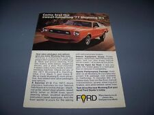 VINTAGE..1977 FORD MUSTANG II (RED)..ORIGINAL SALES AD...RARE! (518F)