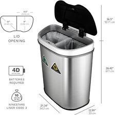 Stainless Steel Trash Can 18.5-Gallon Motion Sensor Recycle Bin Garbage Storage