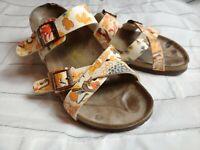 Papillio Birkenstock Womens 8 / 39 Slide Sandals Buckle floral print orange