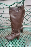 Women's ESSENCE Brown Leather Knee-High Boots with 3.5 inch Heel - UK4 EU37