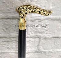 Details about  /Polish Brass Head T Handle Victorian Design Wooden Walking Stick cane Best gift