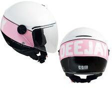 Casco donna jet Cgm Radio Deejay bianco nero rosa limited edition