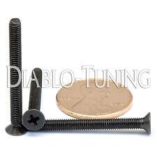 M3 x 30mm - Qty 10 - DIN 965 Phillips FLAT HEAD Machine Screw Black Ox - Type H