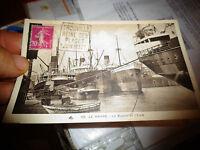 Ancienne Carte Le Port du Havre Cargo Liberty Ship ? et Péniche