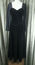 Vintage 80s Laura Ashley Black Velvet Lace Evening Drop Waist Dress UK8 EU36