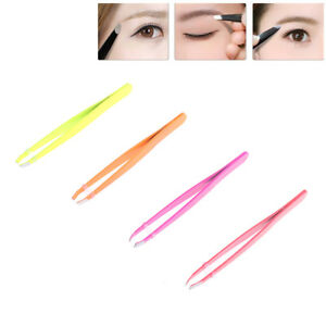 professional stainless steel slant tiphair removal eyebrow tweezermakeup tooY^P1