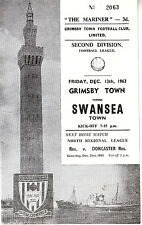 GRIMSBY TOWN V SWANSEA TOWN 13 DECEMBER 1963 VGC