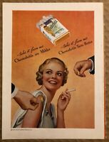 RARE Vintage 1935 color CHESTERFIELD CIGARETTES AD Smiling woman and suitors