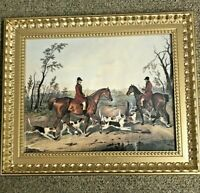 """Vintage -  Framed Fox Hunting Print Made In Canada - 14.75"""""""" x 17.75"""""""""""