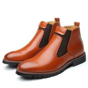 Mens Chelsea Booties Faux Leather Brogue Casual Round Toe Shoes Ankle Boots Size