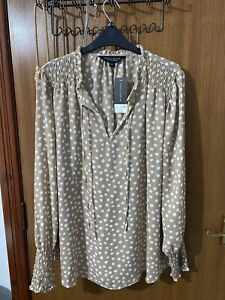 Dusky Pink Beige Spotted Tie Neck Blouse Tunic Smock Detail Size 20 BNWT