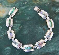 "RARE! Taxco ""NARVAEZ"" Mexico 7"" Vintage 925 Silver Bracelet Abalone Shell Inlay"