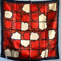 "22"" Classic Totes Rain Scarf Red Blue Cloud Print MCM Made in Japan Mod"