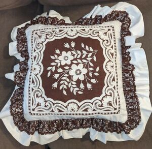 """Handmade Vintage Embroidered lace needlepoint Square Throw Pillow White 18"""""""