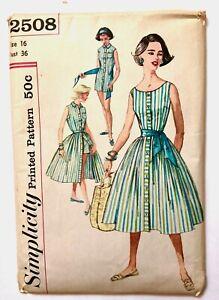 Vintage 1950s SIMPLICITY Sewing Pattern PLAYSUIT Blouse Skirt UNCUT Size 16