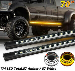 "2x 70"" Running Board Side Step LED Light Amber & White Turn Signal DRL Strip Bar"