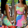 Women Tank Crop Tops Skirt Outfits Two Piece Bodycon Bandage party Mini Dress US