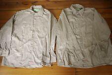 Pair of RED KAP Khaki 100% Cotton Long Sleeve Mens Work Shirts XL-LN