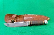"VTG. PAL BRAND GERMANY GX4020L ""HUNTER'S PAL"" STACKED LEATHER HUNTING KNIFE;NR"