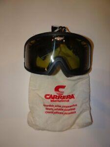 Vintage CARRERA Mens Womens Unisex Goggles Black Ski Snow Pioneer Everclear