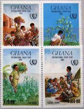 Ghana 1985 1097-00 970-73 Intl. Youth year Año de la juventud niños children mnh