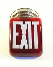 1930s Ruby Red EXIT Sign Shade Two Sided Theater Globe Exit Glass Sign