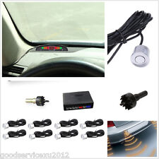 Silver 8 Parking Sensor Car Astern Backup Radar Human Voice Alarming System Kit