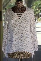 "New Juicy Couture Leopard Print Bling Neckline Hi-Low Shirt Sz. S  36"" Bust"