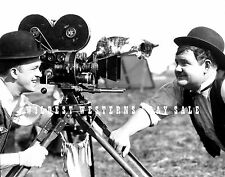 STAN LAUREL & OLIVER HARDY Rare Candid Photo w/ CAMERA & SIAMESE CAT Cute Pic