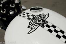 Stickers Damier Réservoir  NOIR/BLANC 30 X 20cm Café Racer Custom Harley Chopper
