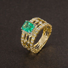 Solid 18k Two-Tone Gold 100% Natural Colombia Emerald Diamond Engagement Ring