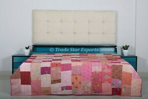 Pink Patchwork Kantha Quilt Indian Home Decor Bed Throw Ethnic Queen Bedspread