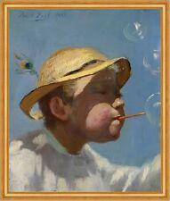 The Bubble Boy Paul Peel jóvenes pompas de jabón juego sombrero pfauenfeder B a2 03040