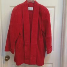 Vtg 1980s Lord & Taylor 10P Suede Jacket Shawl Collar Open Coat Red