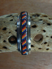 Unique Rare Navajo Handmade Bead Inlaid Sterling Cuff Bracelet Signed W/3 Marked