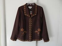 NEW womens brown VICTOR COSTA jacket blazer beaded occasion stretch cotton M