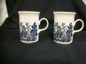 CHURCHILL ENGLAND TALL BLUE WILLOW MUGS WITH FLARED RIM - PAIR