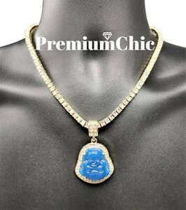 ICED Buddha Pendant + Tennis Chain or Rope Chain Necklace Hip Hop Jewelry BLUE