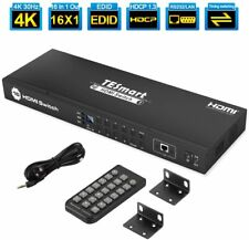 More details for 16 port hdmi switch 4k uhd 1080p at 30z hdcp for hdtv dvd xbox ps4 apple roku tv