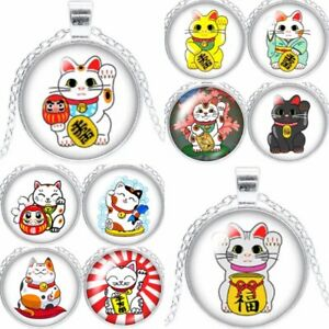 Cat Necklace Pendant Lucky Chinese Gift Cat Lover Jewellery Silver Waving (TE)