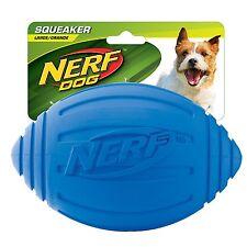 Nerf Dog Ridged Squeaker Football, 7-Inch, Blue