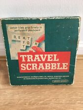 VINTAGE TRAVEL SCRABBLE  by SPEARS includes wooden racks and bag for letters