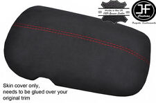 RED STITCH CHARCOAL PU SUEDE ARMREST LID COVER FITS FORD MUSTANG 2015-2017